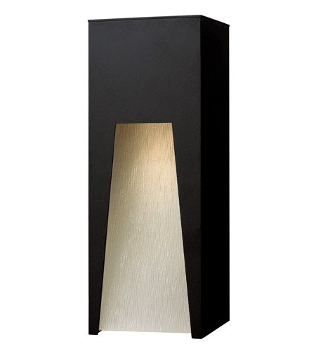 Hinkley 1764SK Kube 1 Light 16 inch Satin Black Outdoor Wall Lantern in Clear Etched Organic Rain, Incandescent photo