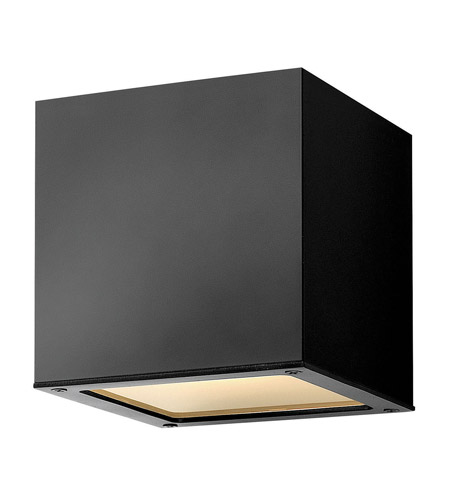 Hinkley Lighting Kube 1 Light Outdoor Wall Lantern in Satin Black 1766SK