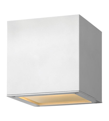 Hinkley Lighting Kube 1 Light GU24 CFL Outdoor Wall in Satin White 1767SW-GU24