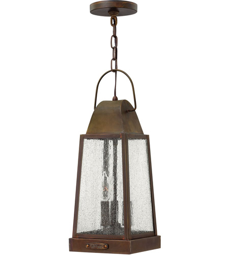 Hinkley 1772SN Sedgwick 3 Light 7 inch Sienna Outdoor Hanging Lantern, Clear Seedy Glass photo