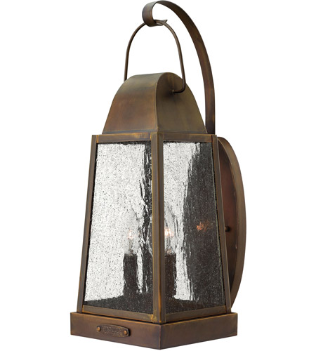Hinkley 1775SN Sedgwick 3 Light 20 inch Sienna Outdoor Wall Lantern, Clear Seedy Glass photo