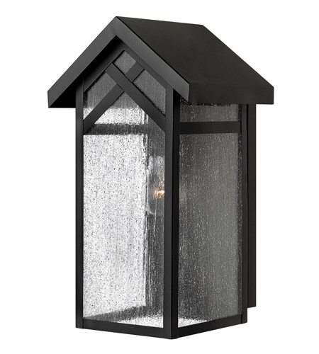 Hinkley 1790BK Holbrook 1 Light 16 inch Black Outdoor Wall in Incandescent, Seedy Glass photo