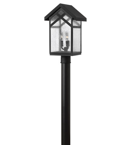 Hinkley 1791BK-GU24 Holbrook 1 Light 19 inch Black Post Lantern in GU24, Seedy Glass photo