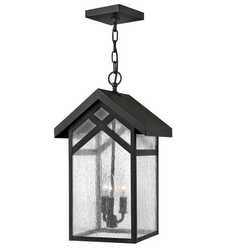Hinkley 1792BK Holbrook 3 Light 11 inch Black Outdoor Hanging in Incandescent, Seedy Glass photo