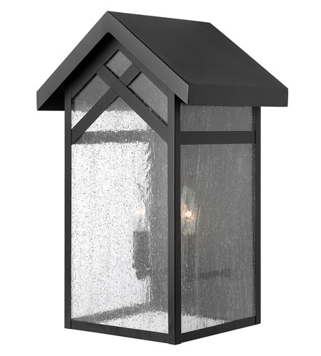 Hinkley 1794BK Holbrook 2 Light 18 inch Black Outdoor Wall in Incandescent, Seedy Glass photo