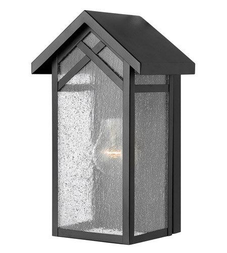 Hinkley 1797BK Holbrook 1 Light 12 inch Black Outdoor Wall in Incandescent, Seedy Glass photo
