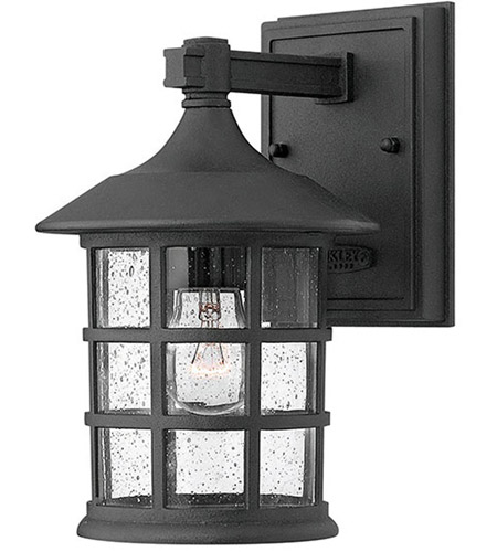 Hinkley 1800bk Freeport 1 Light 9 Inch Black Outdoor Wall Mount In Incandescent Clear Seedy Gl