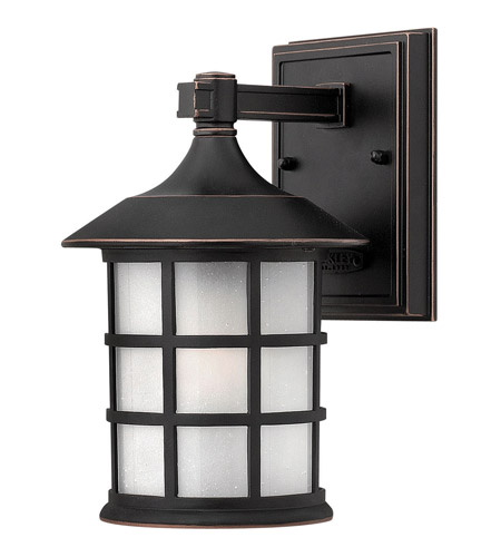 Hinkley 1800OP-GU24 Freeport 1 Light 9 inch Olde Penny Outdoor Wall in Etched Seedy, GU24, Clear Seedy Glass photo