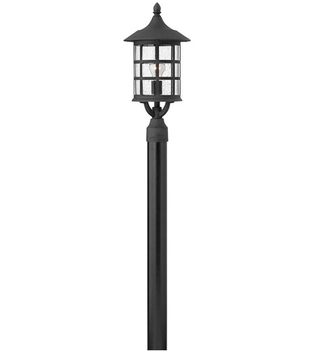 Hinkley 1801BK Freeport 1 Light 20 inch Black Outdoor Post Mount in Clear Seedy, Incandescent, Clear Seedy Glass, Post Sold Separately photo