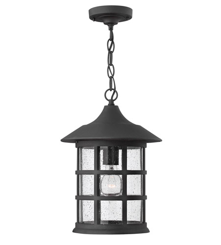 Hinkley 1802BK-GU24 Freeport 1 Light 10 inch Black Outdoor Hanging in Clear Seedy, GU24, Clear Seedy Glass photo