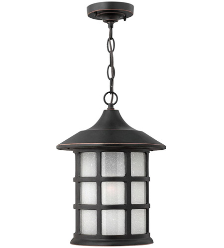 Hinkley 1802OP Freeport 1 Light 10 inch Olde Penny Outdoor Hanging Lantern in Etched Seedy, Incandescent photo