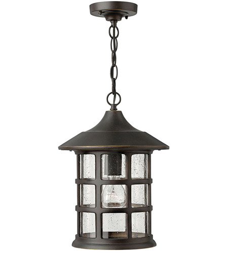 Hinkley 1802OZ-GU24 Freeport 1 Light 10 inch Oil Rubbed Bronze Outdoor Hanging in Clear Seedy, GU24 photo