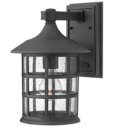Hinkley 1804BK-LED Freeport LED 12 inch Black Outdoor Wall Mount in Clear Seedy, Clear Seedy Glass photo