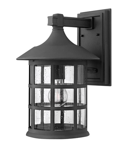 Hinkley 1805BK-GU24 Freeport 1 Light 15 inch Black Outdoor Wall in Clear Seedy, GU24, Clear Seedy Glass photo