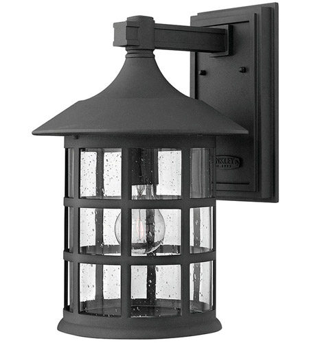 Hinkley 1805BK Freeport 1 Light 15 inch Black Outdoor Wall Mount in Incandescent, Clear Seedy, Clear Seedy Glass photo