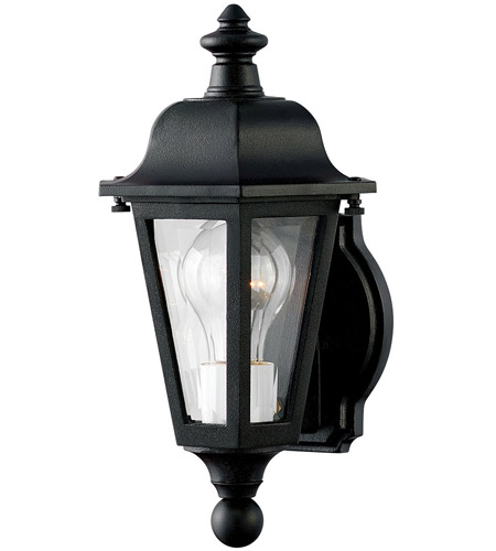 Hinkley 1819BK Manor House 1 Light 13 inch Black Outdoor Mini Wall Mount, Clear Beveled Glass photo