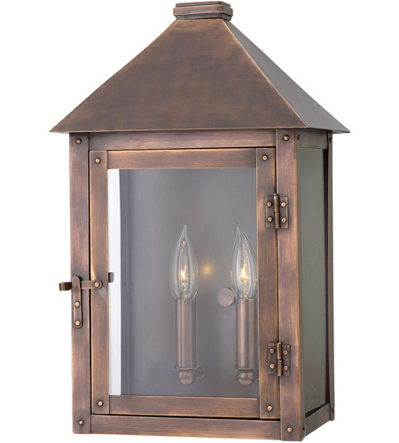 Hinkley 18204AP Thatcher 2 Light 17 inch Antique Copper Outdoor Wall Mount, Clear Glass photo