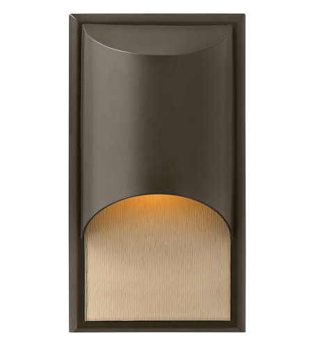 Hinkley 1830BZ-GU24 Cascade 1 Light 15 inch Bronze Outdoor Wall in Amber Etched Organic Rain, GU24, Alabaster Glass photo