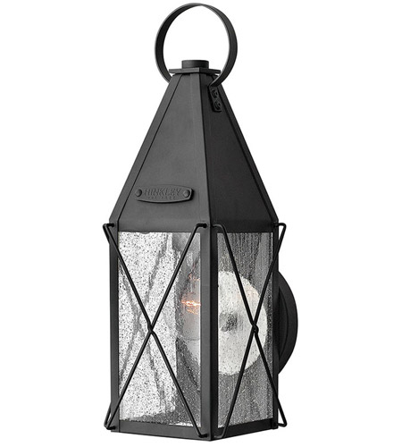 Hinkley 1840BK York 1 Light 15 inch Black Outdoor Wall Mount, Clear Seedy Glass photo