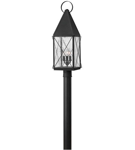 Hinkley 1841BK York 3 Light 28 inch Black Post Lantern, Clear Seedy Glass, Post Sold Separately photo