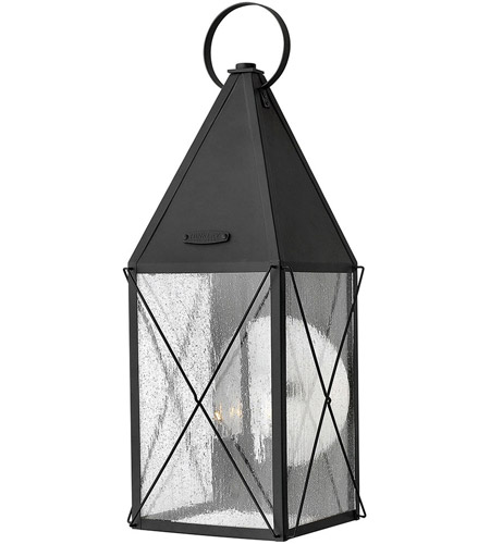 Hinkley 1845BK York 3 Light 25 inch Black Outdoor Wall Lantern, Clear Seedy Glass photo