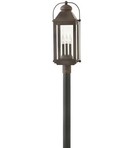 Hinkley 1851lz Anchorage 3 Light 24 Inch Oiled Bronze Outdoor Post Mount In Candelabra