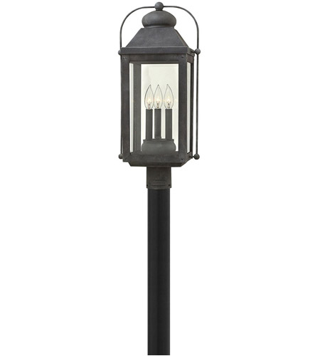 Hinkley 1851DZ Heritage Anchorage 3 Light 24 inch Aged Zinc Outdoor Post Top/Pier Mount in Incandescent photo