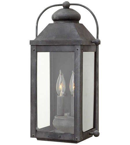 hinkley 1854dz anchorage 2 light 18 inch aged zinc outdoor wall mount clear glass