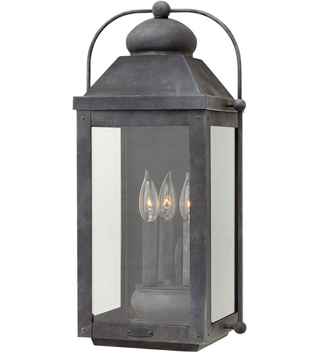 Hinkley 1855DZ Anchorage 3 Light 21 inch Aged Zinc Outdoor Wall Mount in Incandescent, Heritage photo