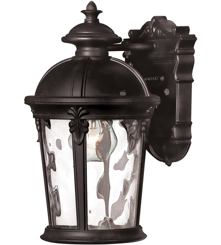 Hinkley 1890BK-LED Windsor 1 Light 13 inch Black Outdoor Wall in Clear Water, LED, Clear Water Glass photo
