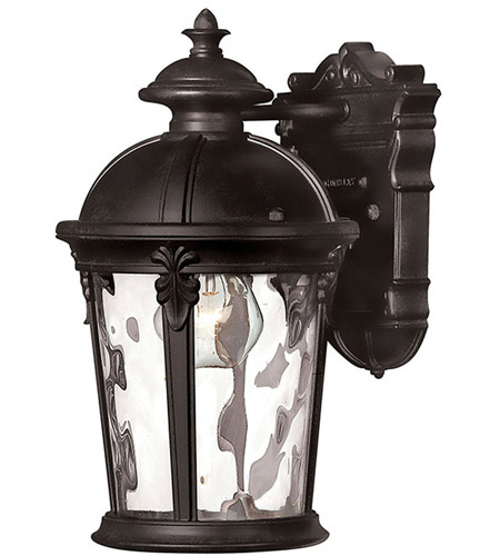 Hinkley 1890BK Windsor 1 Light 13 inch Black Outdoor Wall Mount in Incandescent, Clear Water Glass photo