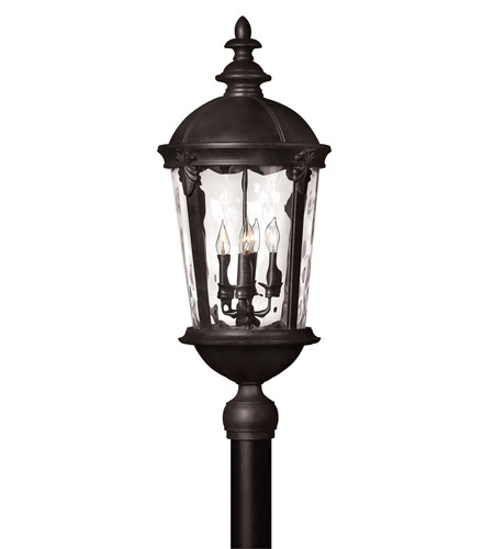 Hinkley 1891BK-LED Windsor LED 30 inch Black Outdoor Post Mount, Clear Water Glass photo