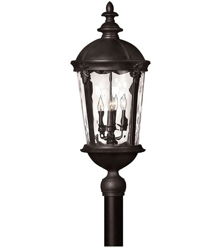Hinkley 1891BK Windsor 4 Light 30 inch Black Post Lantern in Clear Water, Incandescent, Post Sold Separately, Clear Water Glass photo