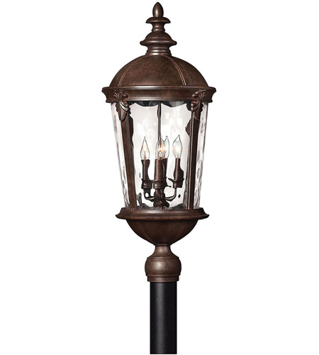 Hinkley 1891RK Windsor 4 Light 30 inch River Rock Post Lantern in Clear Optic Water, Incandescent, Post Sold Separately photo
