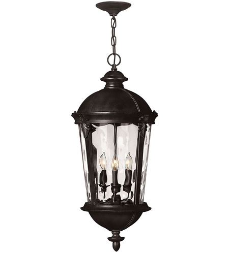 Hinkley 1892BK Windsor 4 Light 13 inch Black Outdoor Hanging Light in Incandescent, Clear Water Glass photo