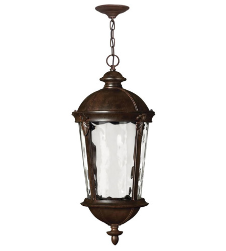 Hinkley 1892RK-LED Windsor LED 13 inch River Rock Outdoor Hanging Light, Clear Water Glass photo