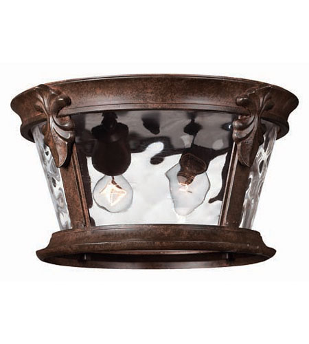 Hinkley Lighting Windsor 2 Light Outdoor Flush Lantern in River Rock 1893RK