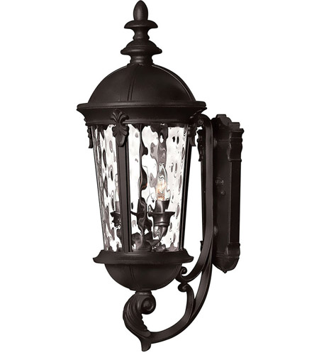 Hinkley 1894BK Windsor 3 Light 26 inch Black Outdoor Wall Mount in Incandescent, Clear Water Glass photo