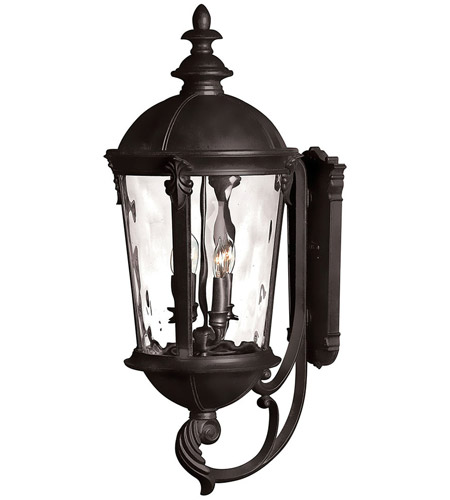 Hinkley 1895BK Windsor 4 Light 32 inch Black Outdoor Wall Mount in Incandescent, Clear Water Glass photo