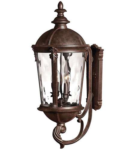 Hinkley 1895RK Windsor 4 Light 32 inch River Rock Outdoor Wall Lantern in Clear Optic Water, Incandescent photo