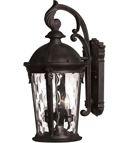 Hinkley 1898BK-LED Windsor 1 Light 21 inch Black Outdoor Wall in Clear Water, LED, Clear Water Glass photo