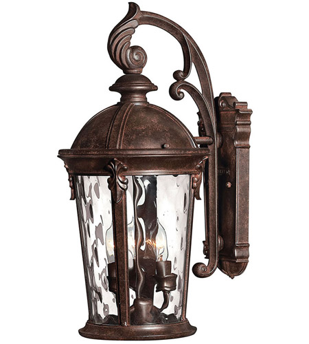 Hinkley 1898RK Windsor 3 Light 21 inch River Rock Outdoor Wall Mount in Clear Optic Water, Incandescent photo