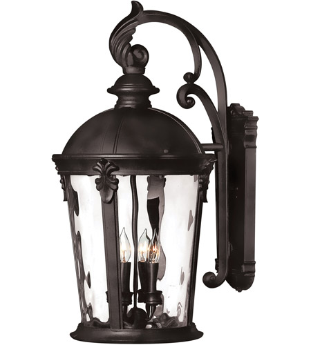 Hinkley 1899BK-LED Windsor 1 Light 26 inch Black Outdoor Wall in Clear Water, LED, Clear Water Glass photo