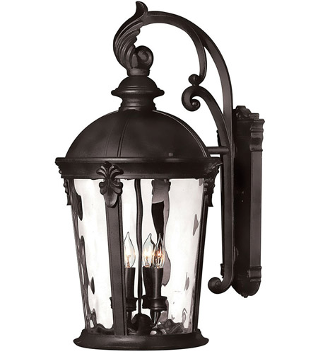 Hinkley 1899BK Windsor 4 Light 26 inch Black Outdoor Wall Mount in Incandescent, Clear Water Glass photo