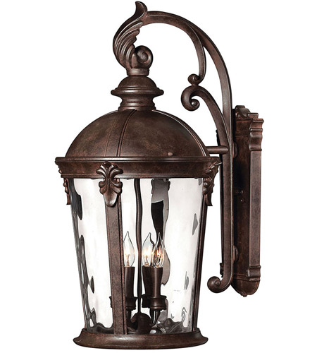 Hinkley 1899RK Windsor 4 Light 26 inch River Rock Outdoor Wall Lantern in Clear Optic Water, Incandescent photo