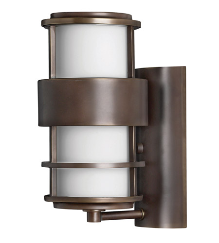 Hinkley 1900MT-GU24 Saturn 1 Light 12 inch Metro Bronze Outdoor Wall in Etched Opal, GU24, Etched Opal Glass photo
