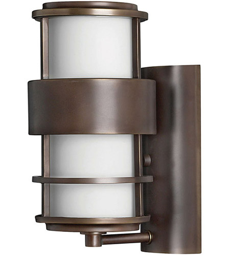 Hinkley 1900MT Saturn 1 Light 12 inch Metro Bronze Outdoor Wall Lantern in Etched Opal, Incandescent photo