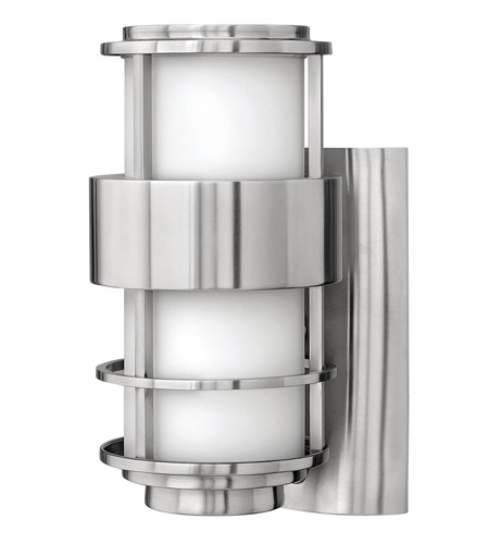 Hinkley 1900SS-GU24 Saturn 1 Light 12 inch Stainless Steel Outdoor Wall in Etched Opal, GU24, Etched Opal Glass photo