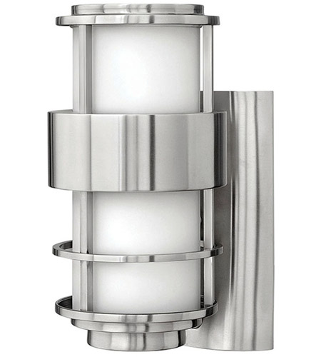 Hinkley 1900SS-LED Saturn LED 12 inch Stainless Steel Outdoor Wall Mount, Etched Opal Glass photo