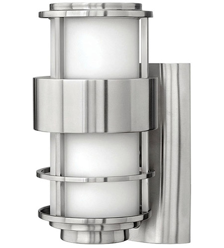 Hinkley 1900SS Saturn 1 Light 12 inch Stainless Steel Outdoor Wall Lantern in Etched Opal, Incandescent photo